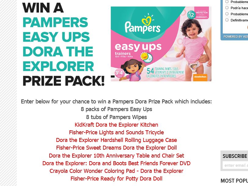 "Latina's ""Pampers' Dora the Explorer"" Sweepstakes"