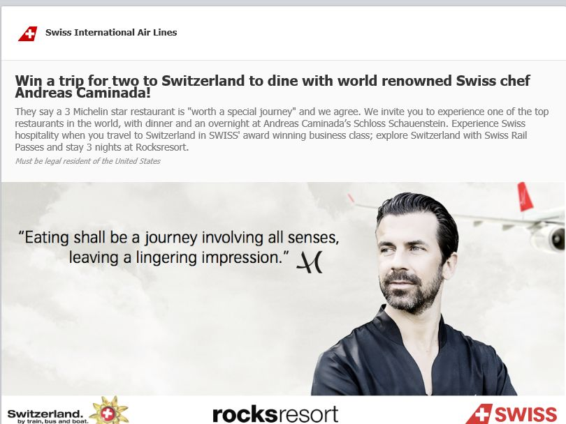 Swiss International Air Lines' Facebook Contest
