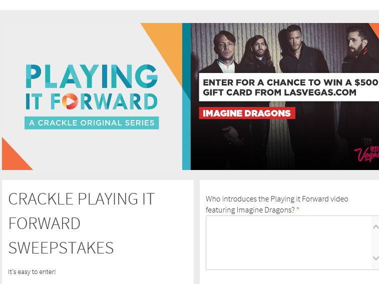 The Crackle Playing It Forward Sweepstakes