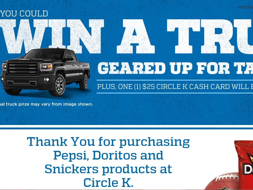 Circle K/On The Run Pepsi, Doritos, Snickers NFL Tailgate Sweepstakes – Code Required