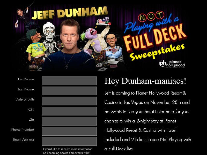 Jeff Dunham Sweepstakes