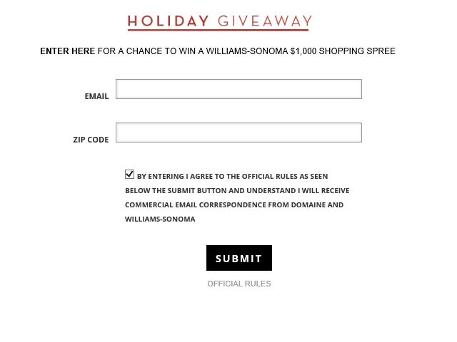 WILLIAMS-SONOMA Holiday Sweepstakes