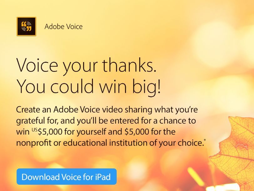 Adobe Voice Your Thanks Sweepstakes
