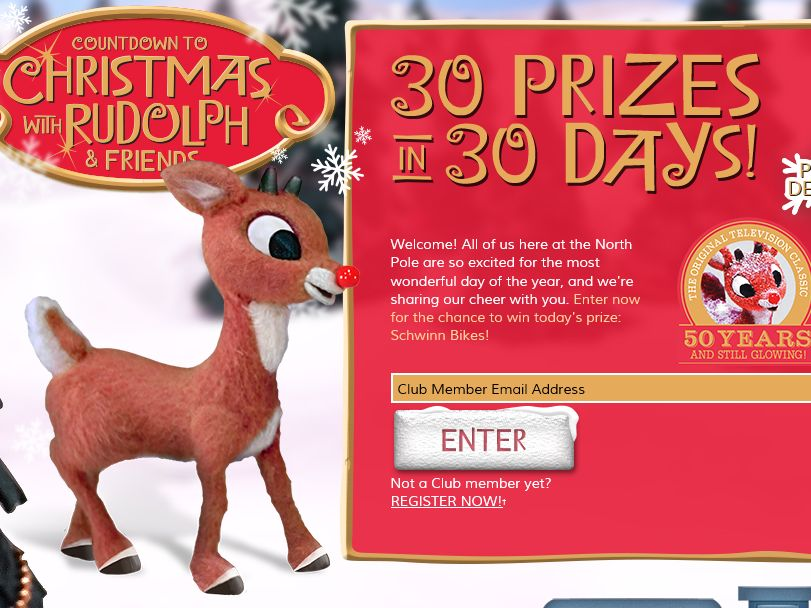 Countdown to Christmas with Rudolph and Friends Sweepstakes