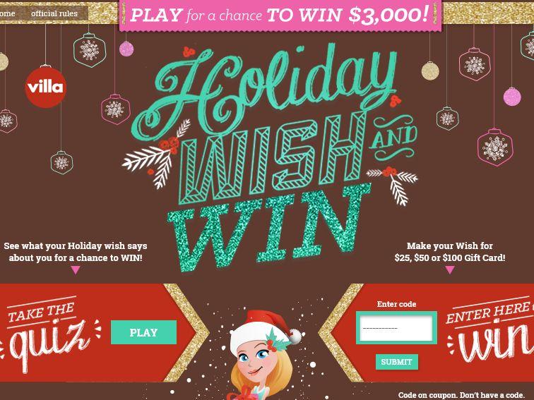 "The Villa Fresh Italian Kitchen ""Holiday Wish & Win"" Instant Win Game"