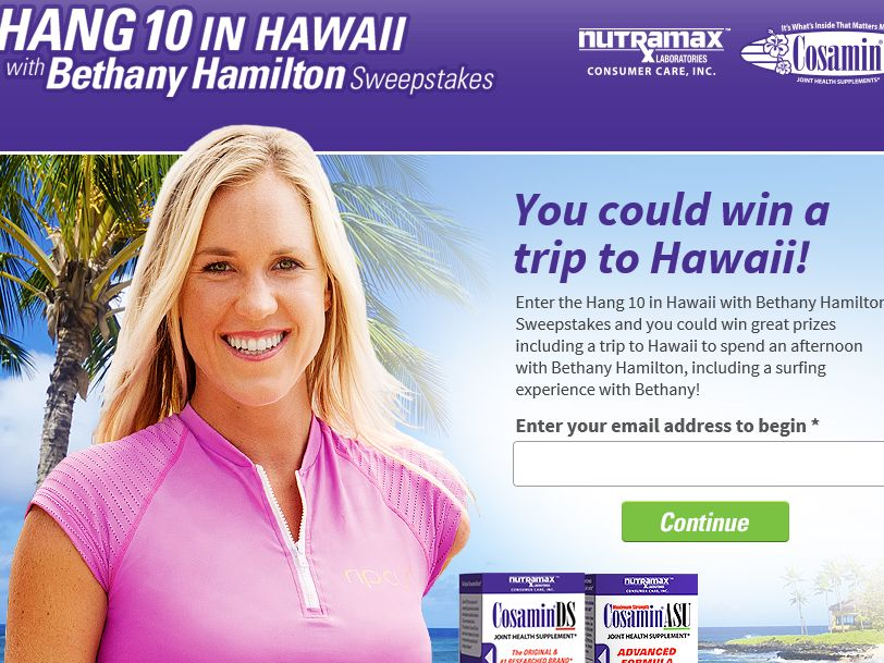 The Hang 10 in Hawaii with Bethany Hamilton Sweepstakes