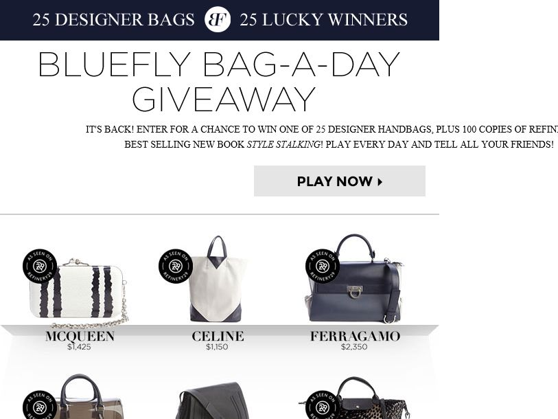 Bluefly Bag-A-Day Giveaway Sweepstakes