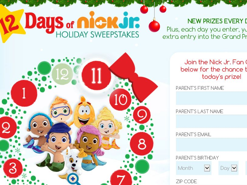 The 12 Days of Nick Jr. Holiday Sweepstakes