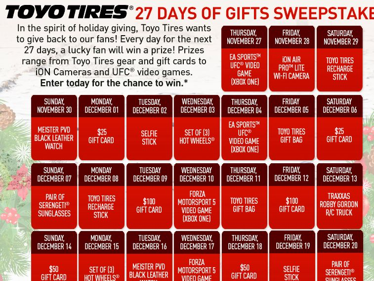 Toyo Tires 27 Days of Gifts Sweepstakes