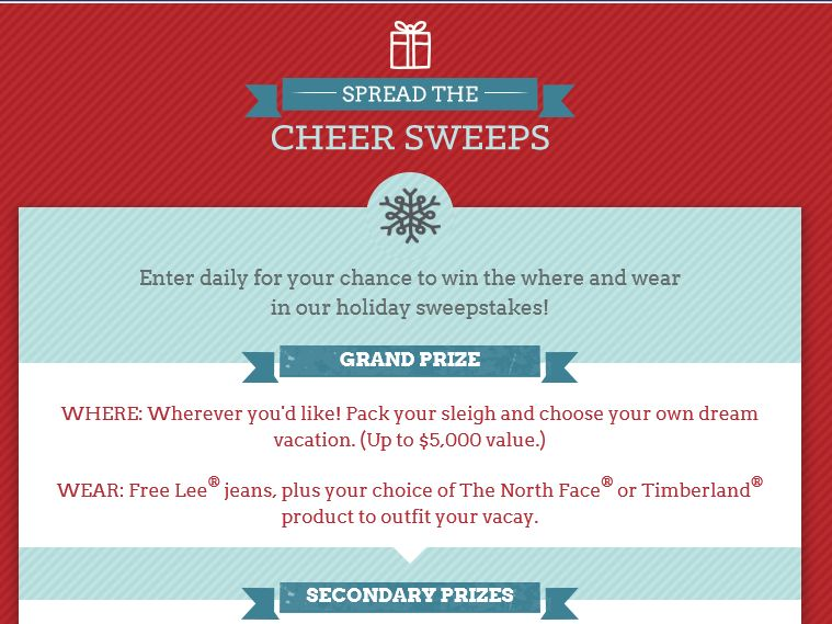 Lee Jeans Spread the Cheer Sweepstakes