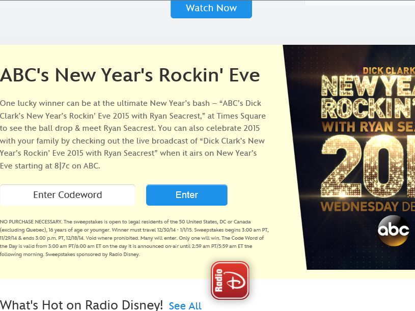 ABC's New Year's Rockin' Eve Sweepstakes – Code Required