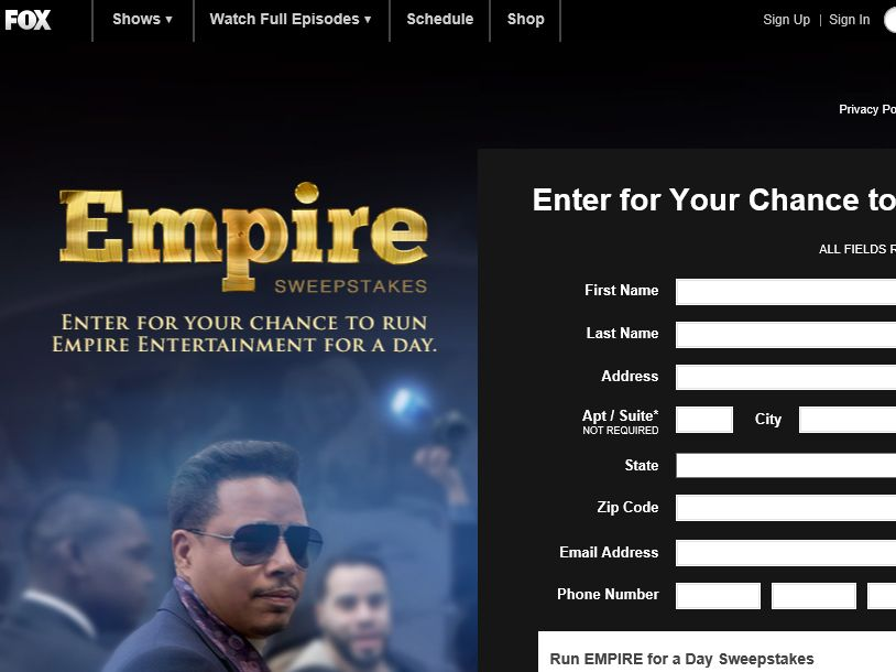 FOX Run EMPIRE for a Day Sweepstakes