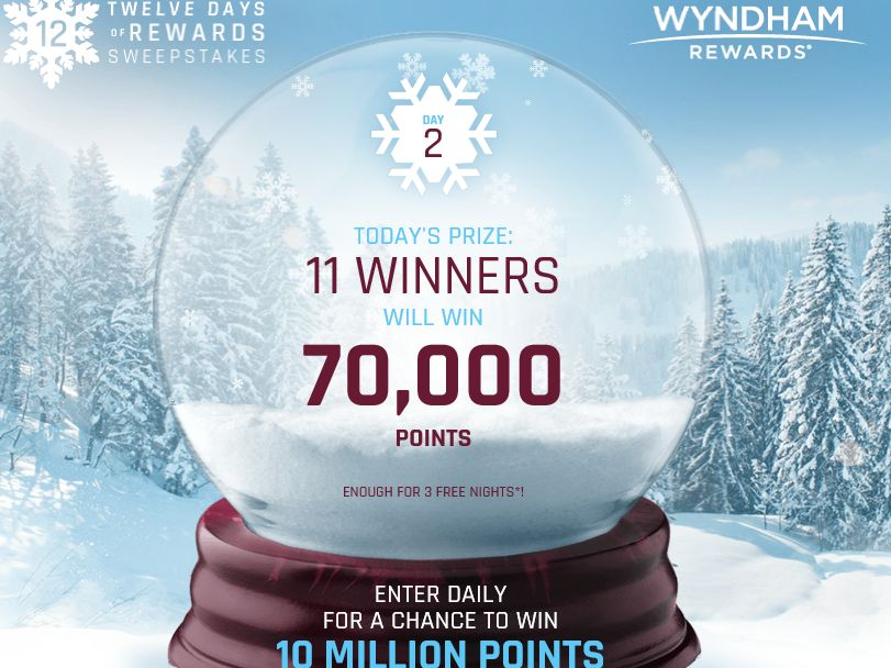 The Wyndham Rewards 12 Days of Rewards Sweepstakes