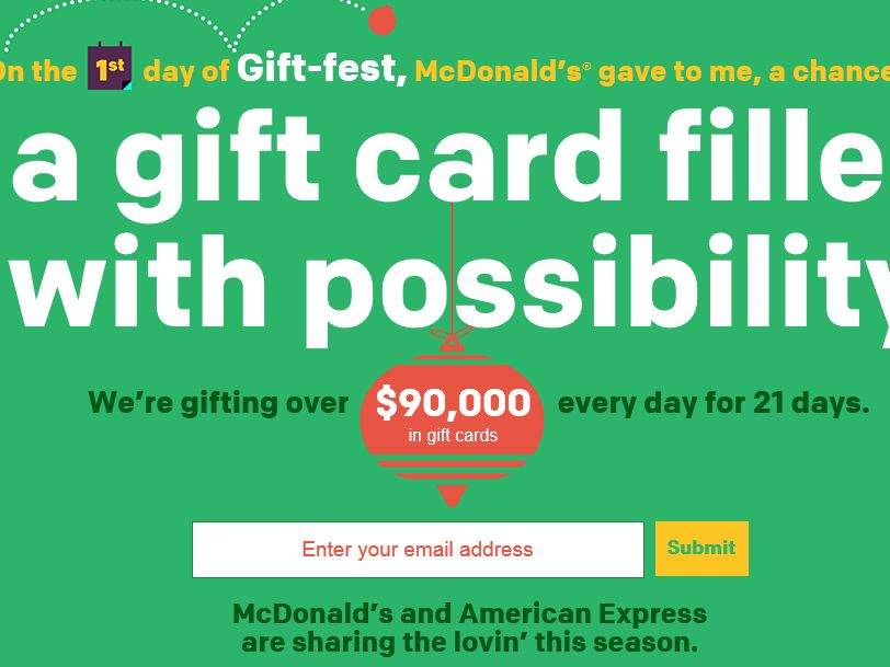 The  McDonald's 21 Days of Gift-fest Sweepstakes