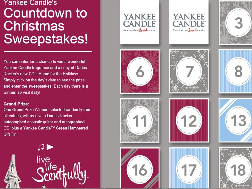 2014 Yankee Candle Countdown to Christmas Sweepstakes