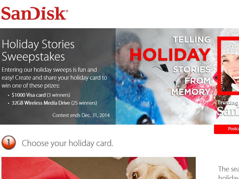 The SanDisk Holiday Stories Sweepstakes
