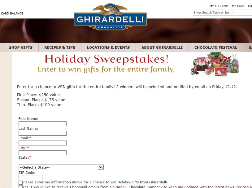 Ghirardelli Chocolate 2014 Holiday Sweepstakes