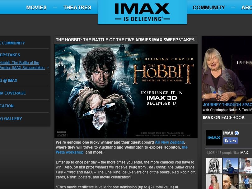 The Hobbit: The Battle of the Five Armies IMAX Sweepstakes