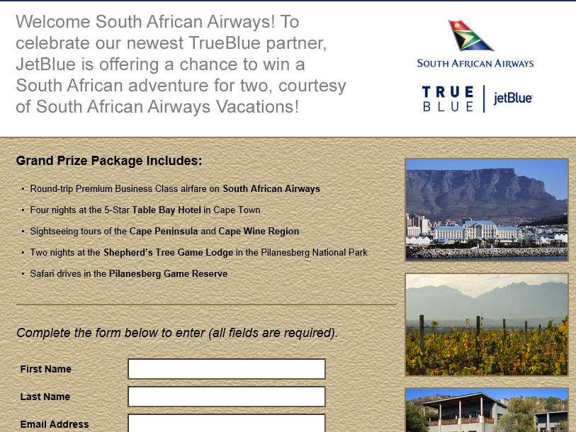 The JetBlue TrueBlue South African Airways Sweepstakes