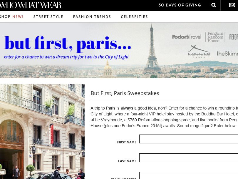 The But First, Paris Sweepstakes