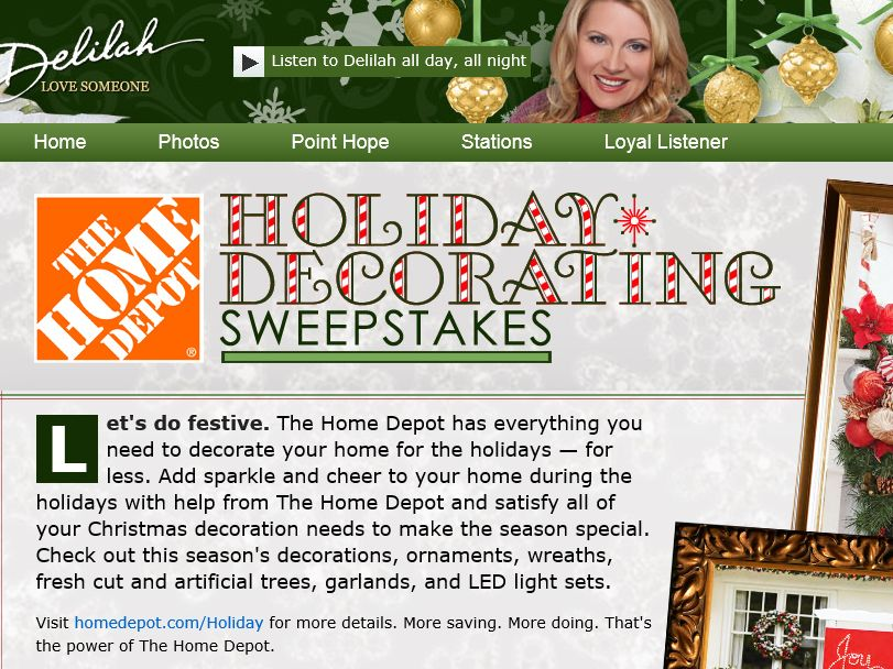 Delilah's The Home Depot Holiday Decorating Sweepstakes