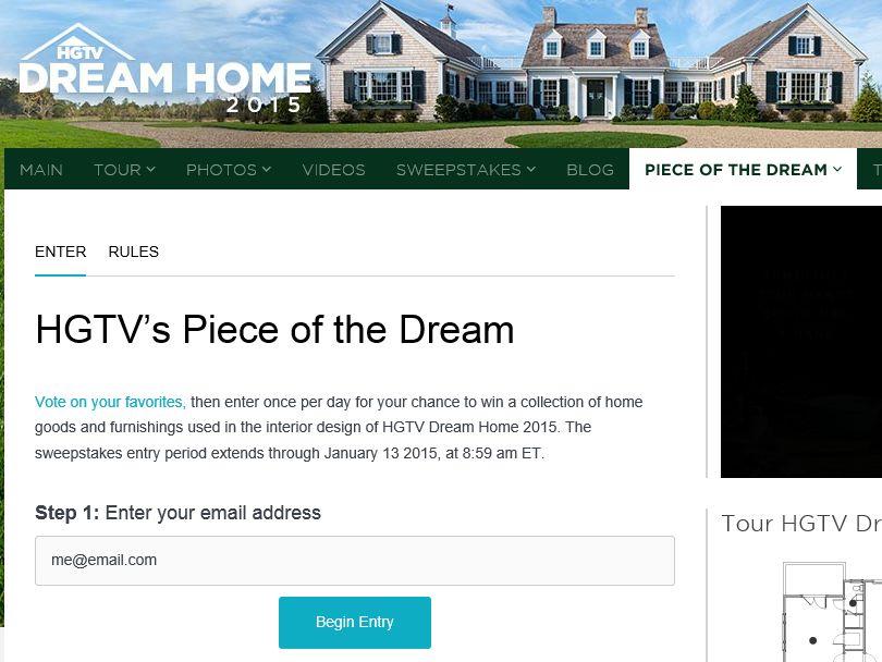 Hgtv package dream home piece vote.