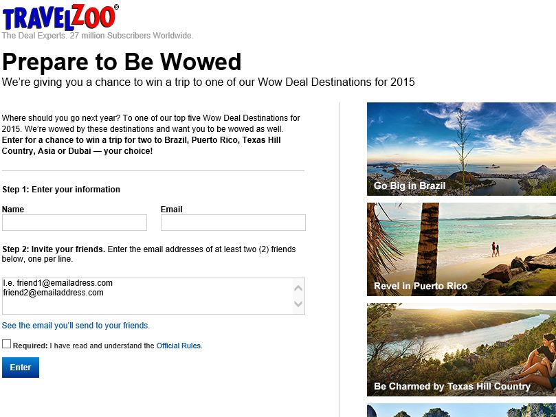 The Travelzoo Top 20 Deals Sweepstakes