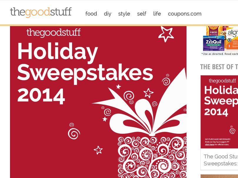"""The Coupons.com """"The Good Stuff's Holiday 2014"""" Sweepstakes"""