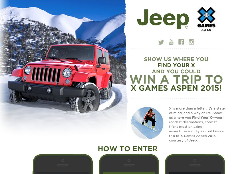The Jeep X Games Aspen 2015 #FindYourXContest Sweepstakes