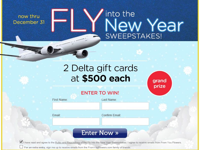The From You Flowers Fly into the New Year Sweepstakes