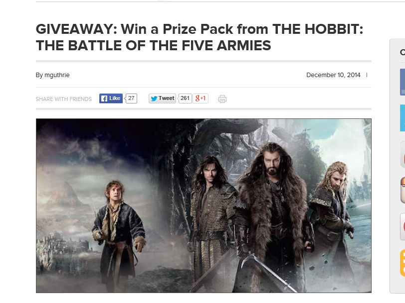 "The AMC ""THE HOBBIT: THE BATTLE OF THE FIVE ARMIES"" Giveaway"