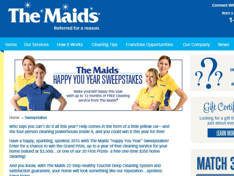 """The Maids """"Happy You Year"""" Sweepstakes"""