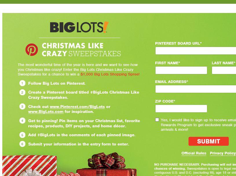 "The Big Lots ""Christmas Like Crazy"" Sweepstakes"