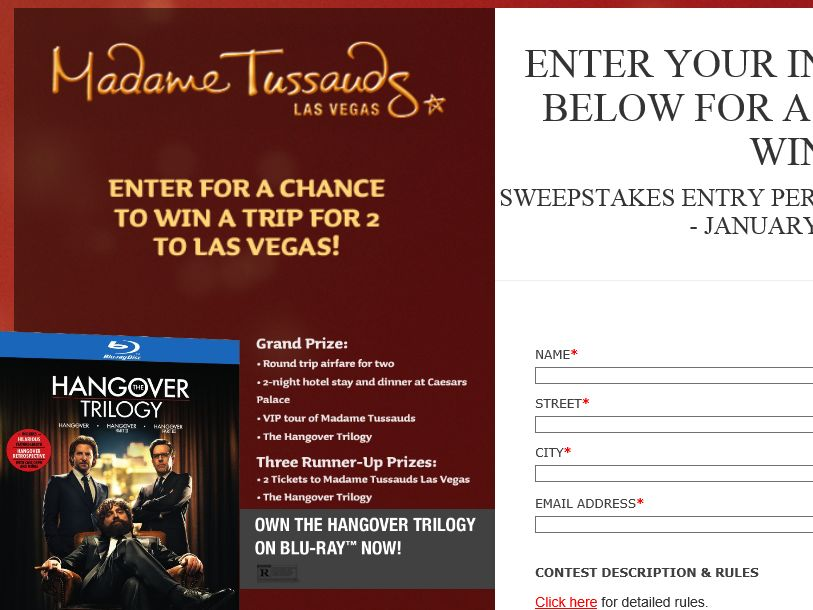The Madame Tussauds Hangover Experience Sweepstakes