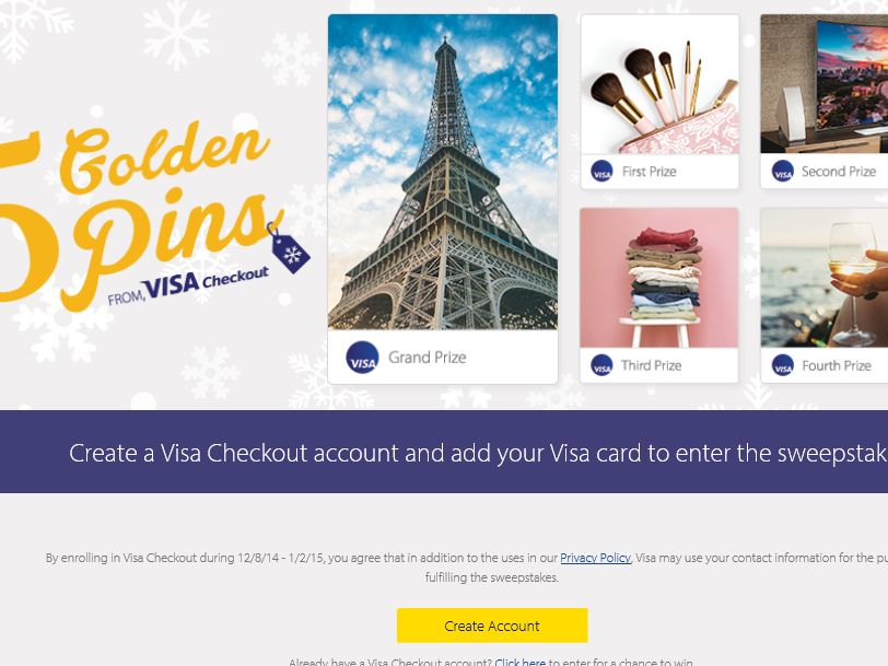 The Visa Checkout 5 Golden Pins Sweepstakes