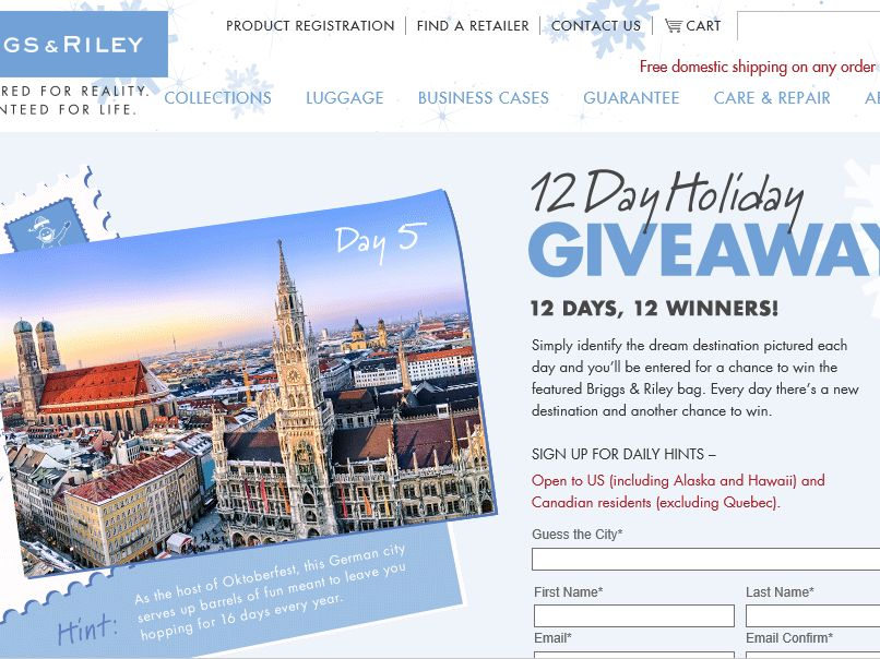 The 12 Days of Briggs & Riley Sweepstakes