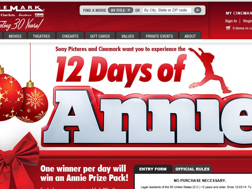 Cinemark's 12 Days of Annie Sweepstakes