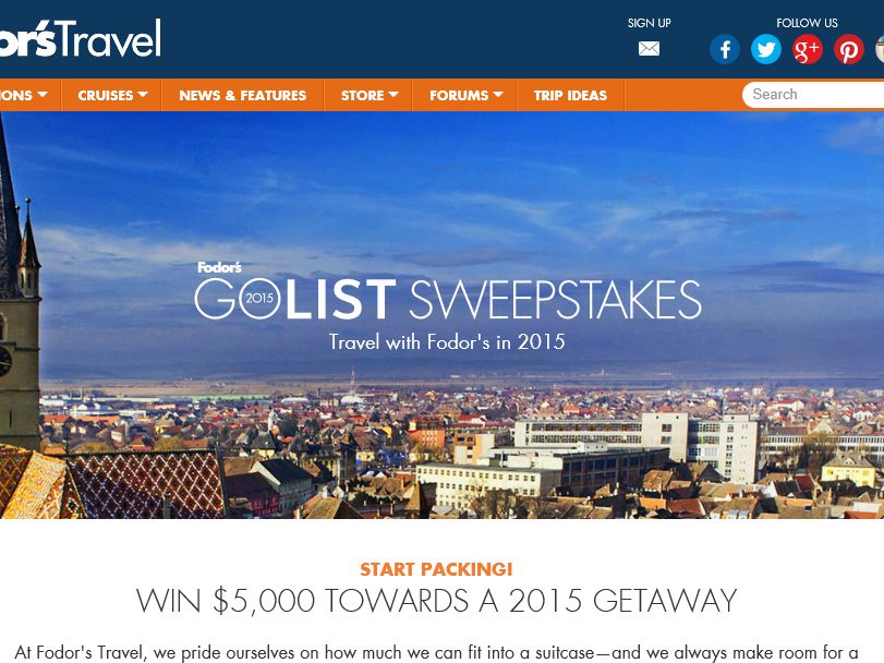 Fodor's Travel Go-List Sweepstakes