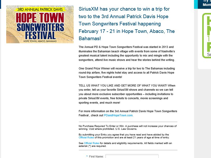 The Patrick Davis Hope Town Songwriters Festival SiriusXM Sweepstakes