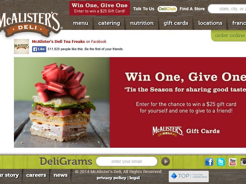 """McAlister's """"Win One, Give One"""" Sweepstakes"""