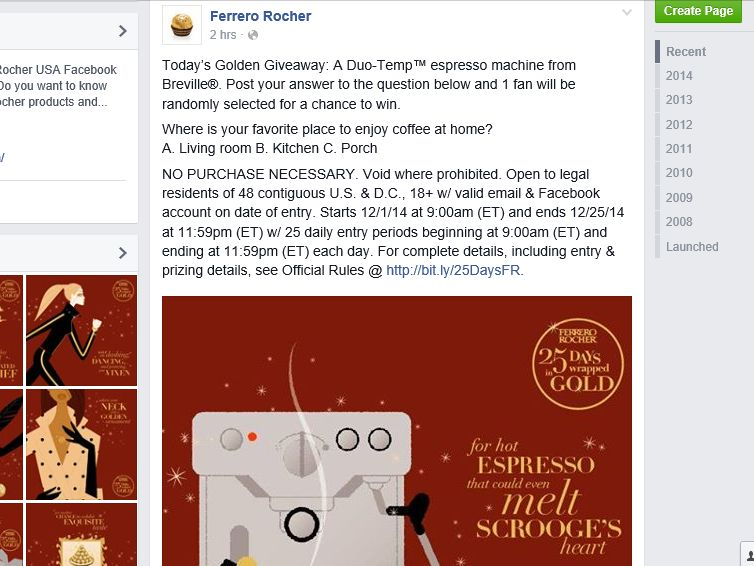 The Ferraro Rocher 25 Days Wrapped in Gold Sweepstakes
