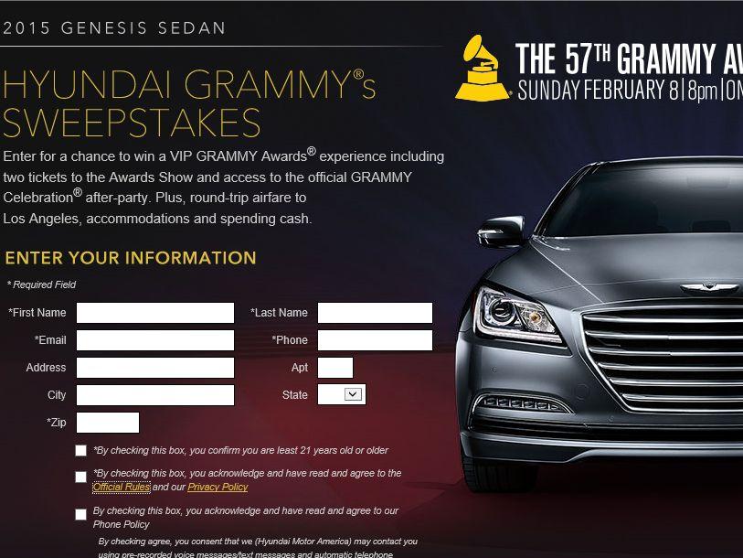 The Hyundai GRAMMY's Sweepstakes