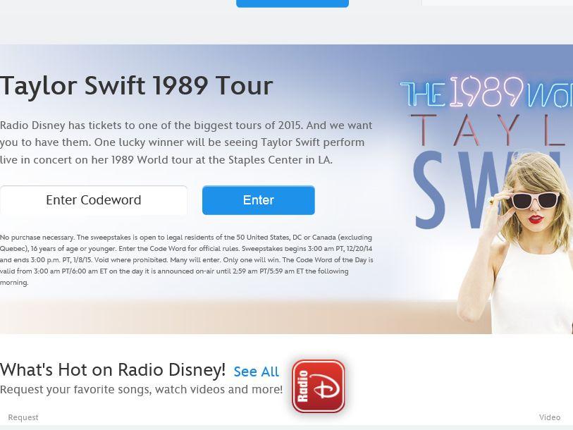 Disney Radio Taylor Swift 1989 Tour Sweepstakes