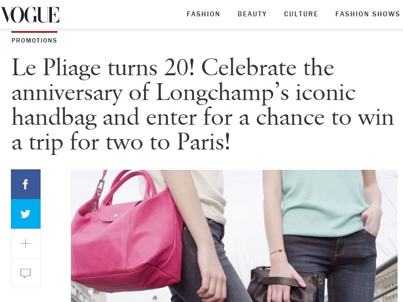 LongChamp Le Pliage turns 20! Sweepstakes