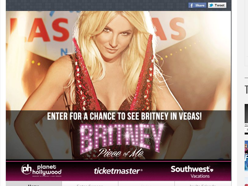 The Ticketmaster Britney Spears Piece of Me in VEGAS Sweepstakes