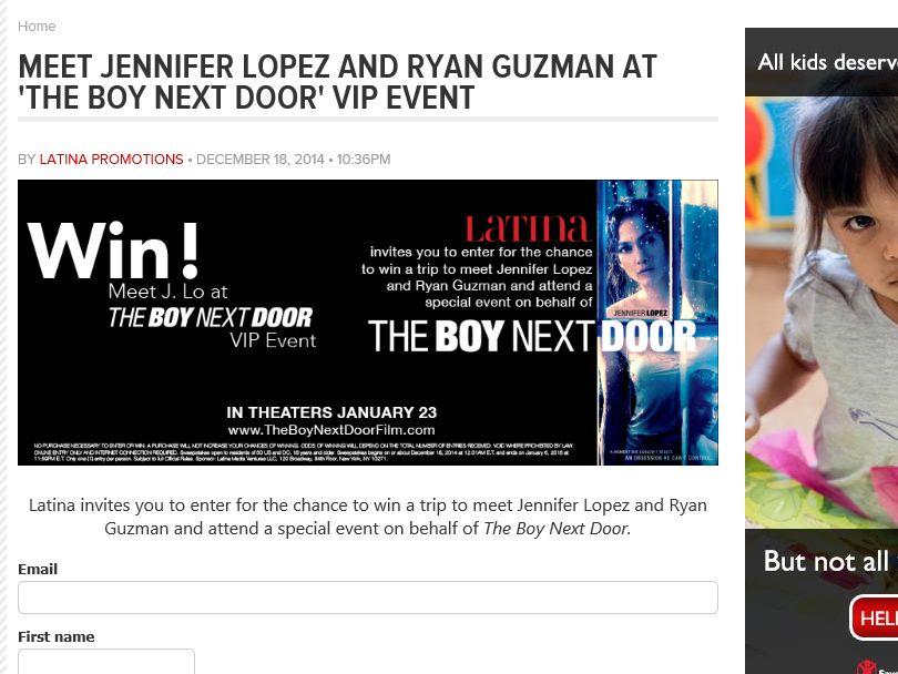 The Latina Boy Next Door VIP Event Sweepstakes