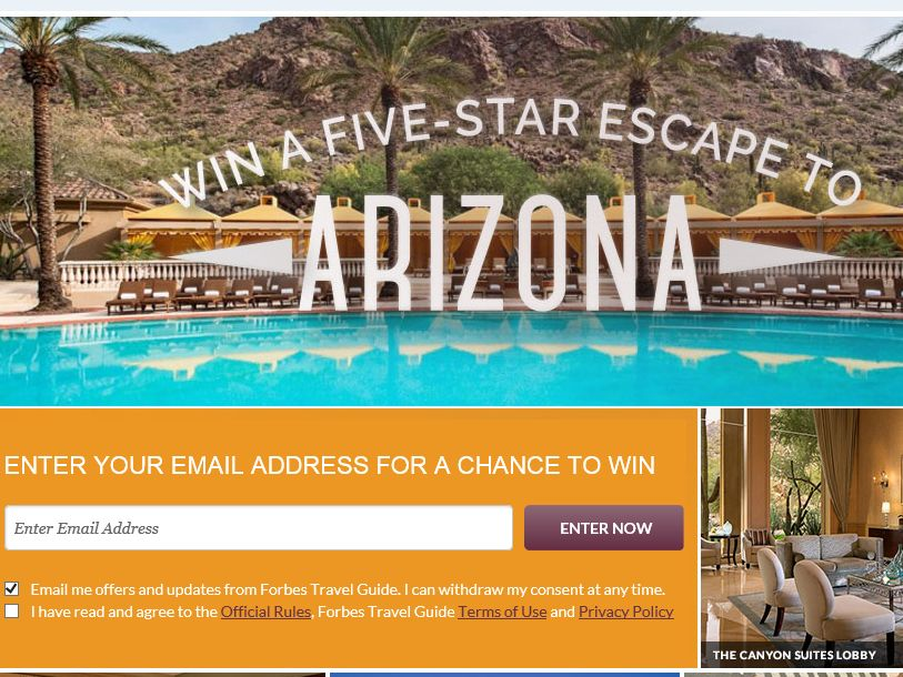 Forbes Travel Guide Win a Five-Star Arizona Escape Sweepstakes