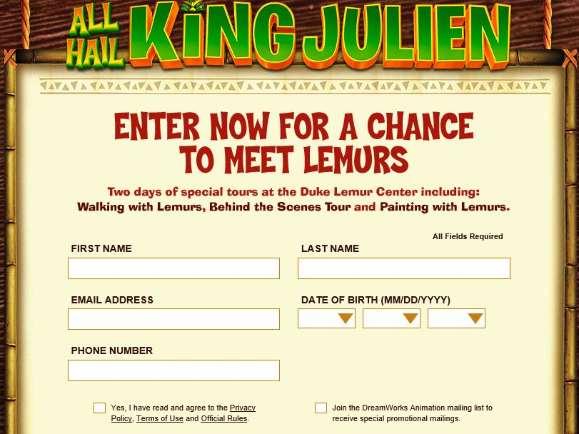The All Hail King Julien Sweepstakes