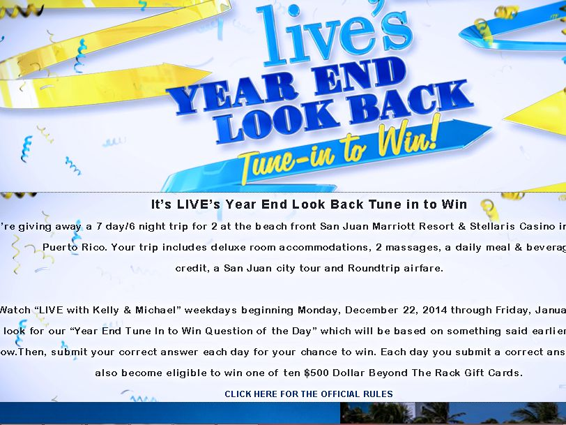 LIVE'S Year End Look Back Tune In to Win Sweepstakes