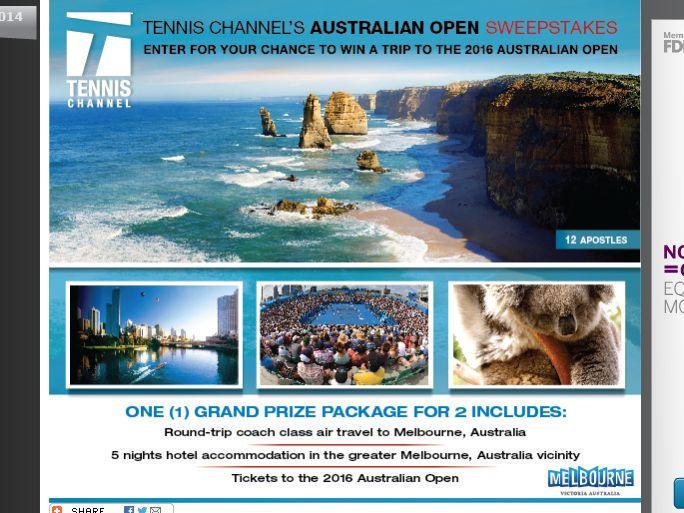 Tennis Channel's Australian Open Sweepstakes